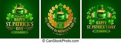 日, 紋章, 聖者, patricks, セット