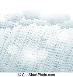 日, 背景, ra, 雨, 秋