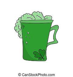 日, 葉, 大きい, ビール, 3, 明るい, 緑, ガラス, クローバー, 飲みなさい, patrick's, 休日, st. 。, 泡だらけ