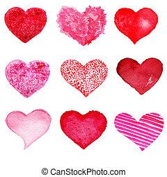 日, 要素, set., -, 心, 集めなさい, デザイン, バレンタイン, 手, 引かれる