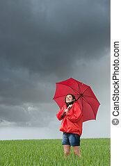 日, 雨, 空想にふける, 女の子, 活発