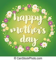 日, card., mother's, 幸せ, 挨拶, 緑