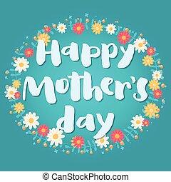 日, card., mother's, 幸せ, 青, 挨拶