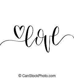 日, typography., 愛, phrase., レタリング, 手, 14, ベクトル, カリグラフィー, バックグラウンド。, バレンタイン, 2 月, 白