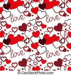 日, vector., バックグラウンド。, pattern., テンプレート, seamless, ベクトル, 手, ペーパー, 例証された, デザイン, 赤, illustration., 引かれる, textile., 背景, カード, 心, バレンタイン, 贈り物, s