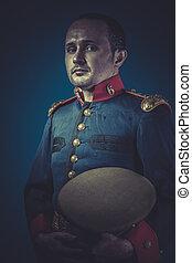 旧式, 将官, の, ∥, スペイン語, 軍隊, 青いコート, そして, 金, epaulettes