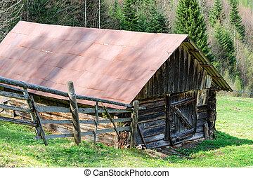 旧式, 木製である, 納屋, 上に, ∥, outskirts, の, ∥, forest., の中, ∥, carpathian, 山, 中に, ukraine., outdoors.
