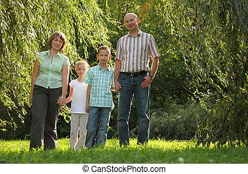 早く, 彼ら, 家族, 2, 見る, park., カメラ。, 秋, 子供