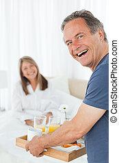 早餐, 他的, 帶來, 人, 妻子