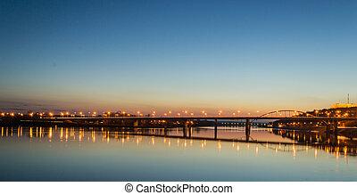 早, 橋梁, 晚上, 傍晚