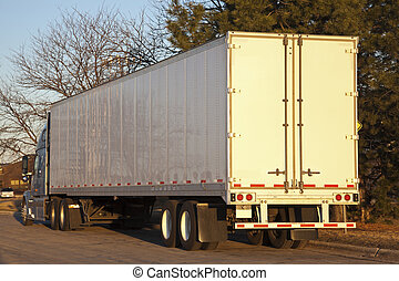 早, 看見, 卡車, 半, 早晨
