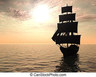 早, 船, morning., 海, 在外