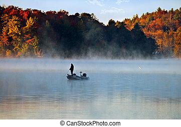 早, 霧, 釣魚, 人, 早晨