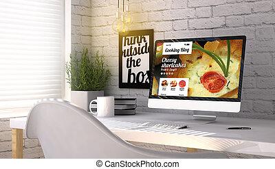 时尚, 工作场所, 带, 计算机, 带, 烹调, blog, 在上, the, 屏幕