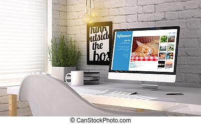 时尚, 工作场所, 带, 计算机, 带, influencer, 销售, 概念, 在上, the, 屏幕