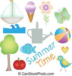 时间, 色彩丰富, 夏天, 矢量, 图表