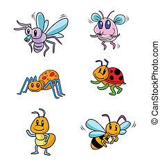 昆虫, セット, 動物