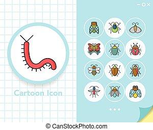 昆虫, ベクトル, セット, アイコン