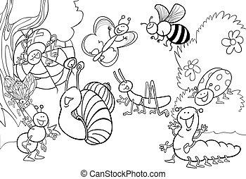 昆虫, 着色, 牧草地, 漫画
