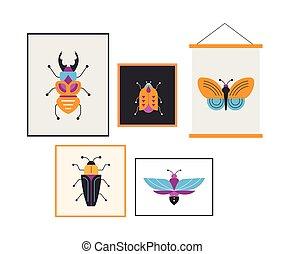 昆虫, 虫, セット, 蝶, てんとう虫