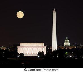 昇っている月, 中に, washington d.c.