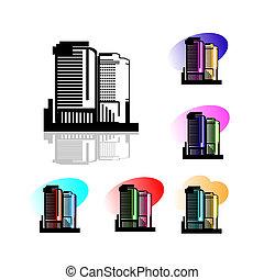 昇給, 建物, 高く, ロゴ, シンボル