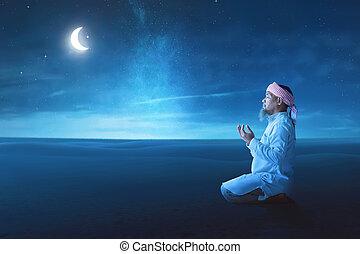 昇給, muslim, 年配, 手, アジア人, 祈ること, 人
