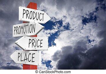 昇進, 概念, 場所, プロダクト, 価格