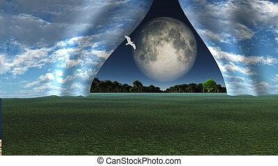 明らかにしなさい, 巨人, フルである, のように, 空, 月, 他, カーテン, 引っ張られる, 風景, 離れて