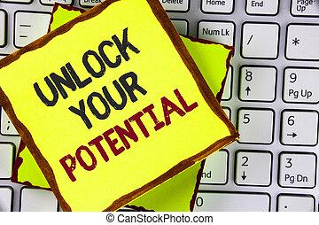 明らかにしなさい, 提示, 能力, 発展しなさい, 才能, ショー, 個人的, テキスト, potential., laptop., 付せん, 技能, 錠を開けなさい, ペーパー, 写真, 概念, 書かれた, 印, あなたの, 置かれた