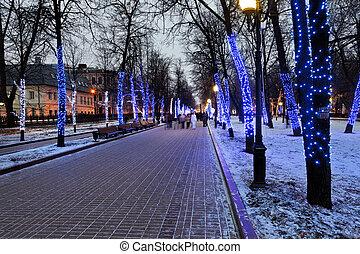 明り, モスクワ, 大通り, 夜