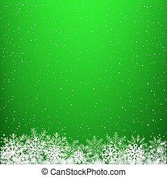 明るい緑, 冬, 背景, 雪