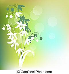 明るい緑, 背景, 春の花, 輪郭