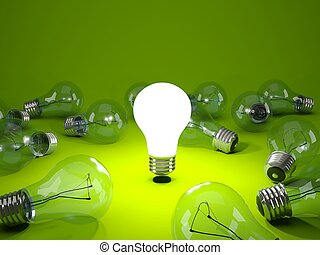 明るい緑, 背景, 電球