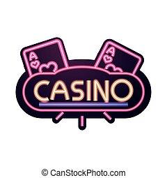 明るい, ギャンブル, ネオン, カジノ, 旗, 印, エース