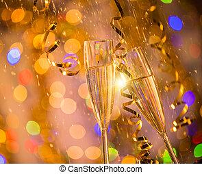 明るい, シャンペン, 背景, 金, ガラス