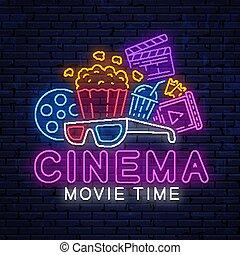 明るい, ネオン, 印。, 映画館