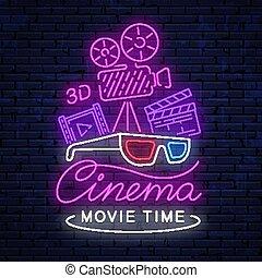 明るい, ネオン, cinema., 印