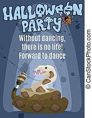 明るい, パーティー, ポスター, モンスター, ガラガラヘビ