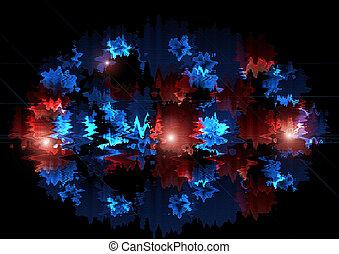 明るい, 凸状である, 赤, と青, ジグザグ, 入る, オバール, 形
