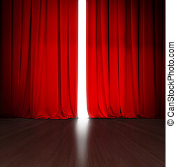 明るい, 劇場, 開いた, ライト, 現場, の後ろ, 木, カーテン, わずかに, ∥あるいは∥, 赤, ステージ