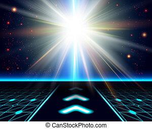 明るい, 宇宙, burst., 太陽, ファンタジー, バックグラウンド。