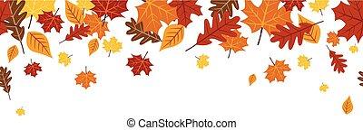 明るい, 葉, 1, seamless, ボーダー, 00092, 秋, 秋