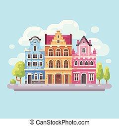 明るい, 都市 通り, 平ら, illustration., ヨーロッパの都市, バックグラウンド。