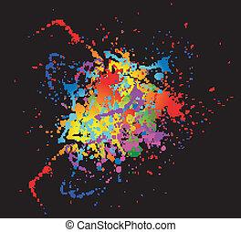 明るい, splat, デザイン, カラフルである, インク