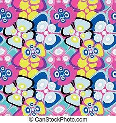 明るく彩色された, パターン, 抽象的, seamless, イラスト, ベクトル, 黒い背景, 花