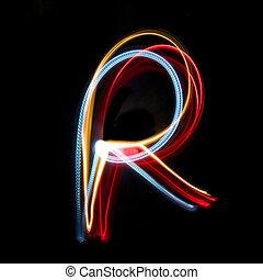 明るく, 作られた, ネオン, 有色人種, ライト, r, 手紙