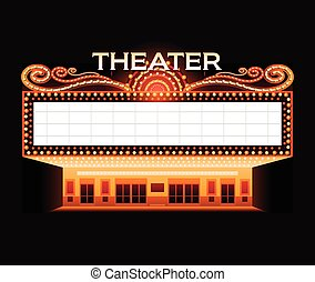 明るく, 劇場, 映画館, ネオン 印, 白熱, レトロ