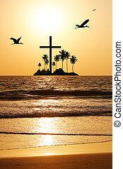 明るく, 夕方, 島, &, 太陽, 波, 空, 交差点, 日光, 火をつけられた, heavenly, 設定, flying., horizon., 水, 威厳がある, 海景, 反映, 鳥
