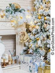 明亮地, 點燃, 簽, 樹, 禮物, 聖誕節